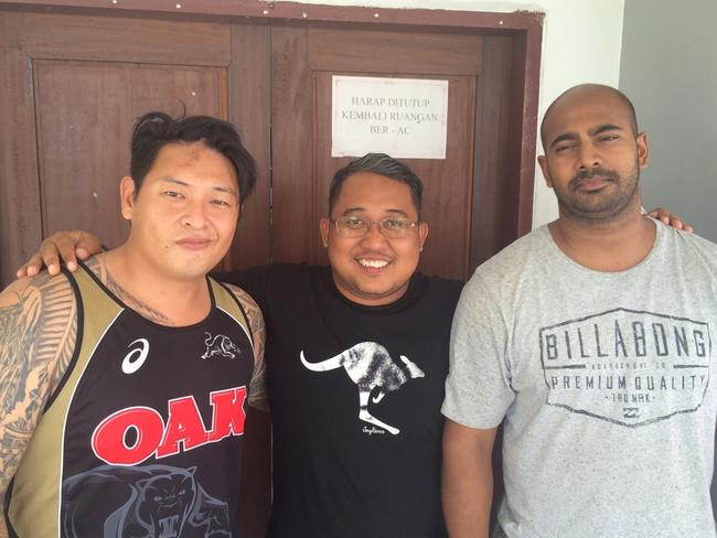 Andrew Chan and Myuran Sukumaran with preacher Matius Arif (centre) on the last day at Kerobokan before their transfer for execution.
