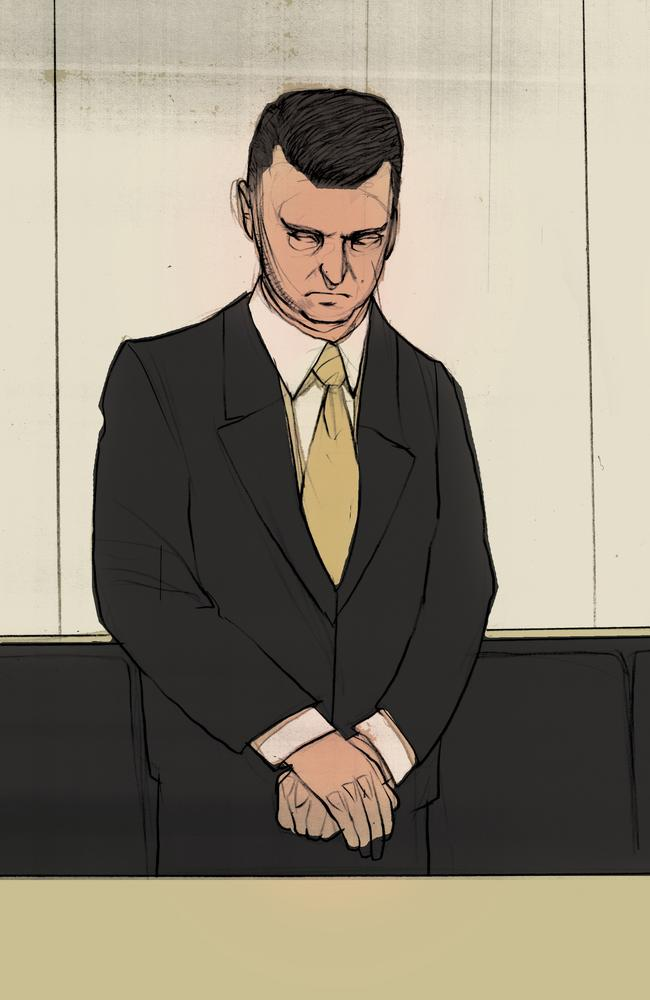 Gerard Baden-Clay stands for the guilty verdict in this artwork from the Supreme Court in Brisbane. Illustration: Brett Lethbridge