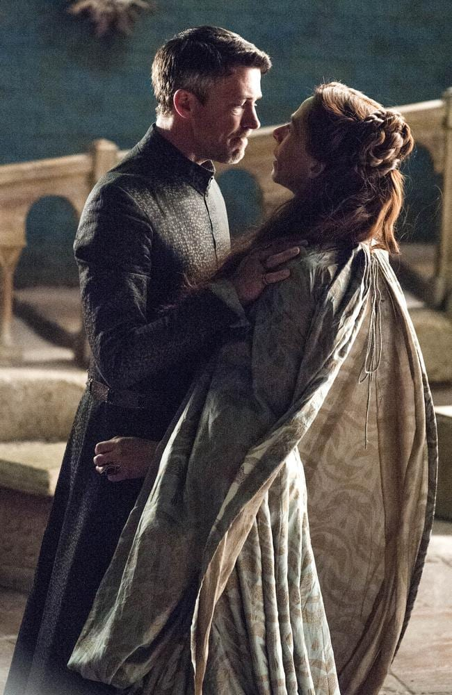 Turning point ... Littlefinger (Aidan Gillen) confronts Lysa Arryn (Kate Dickie) in Game of Thrones.
