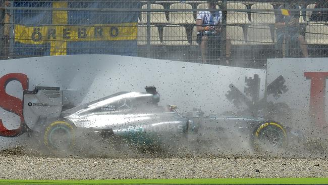 Lewis Hamilton of Great Britain and Mercedes crashes during qualifying ahead of the German Grand Prix at Hockenheimring.