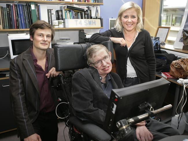 Professor Stephen Hawking, his daughter Lucy (r) and Christophe Galfard in 2007. Picture: AFP