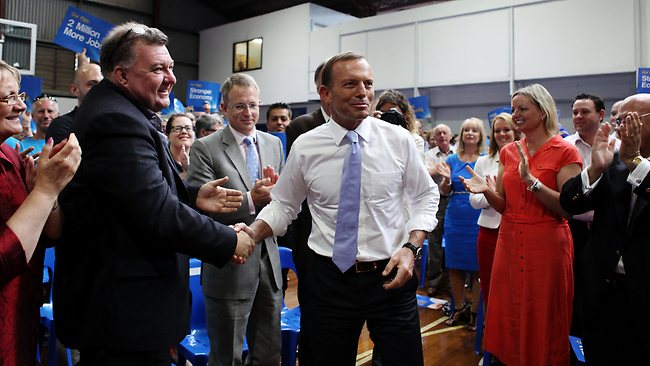 Opposition leader Tony Abbott at the Liberal federal campaign rally at Auburn Basketball Centre in Sydney on Sunday. Picture: Nikki Short
