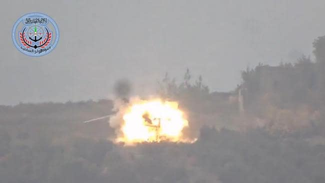 Fireball ... A Russian rescue helicopter is blown up by Syrian rebels. Picture: Supplied