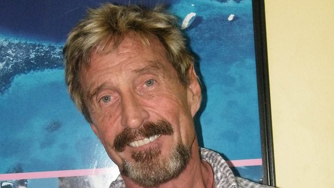 American anti-virus software pioneer John McAfee, wanted for questioning over the murder of his neighbour last month in Belize, as pictured in Belize in May.