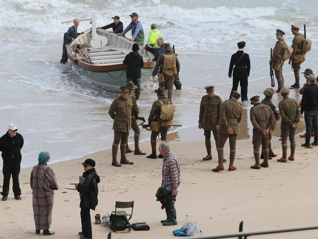 Filming of the movie Deadline Gallipoli at Port Noarlunga. Picture: Dylan Coker