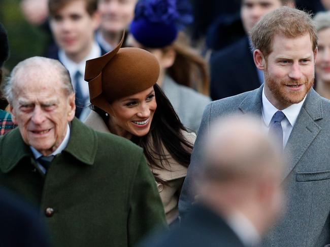 Prince Philip with Meghan Markle and Prince Harry on Christmas Day. Picture: AFP/ Adrian Dennis