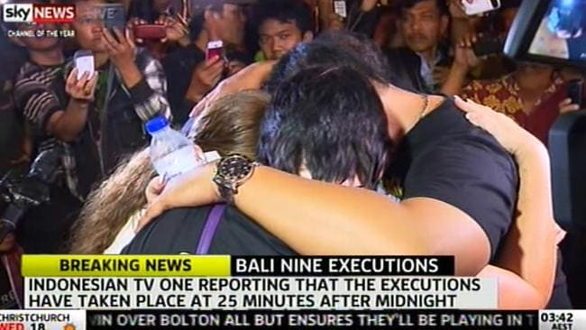 Heartbreak ... Families respond in the minutes after the execution is confirmed.