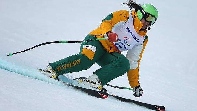 Melissa Perrine in training for the visually impaired downhill at Rosa Khutor Alpine Center.
