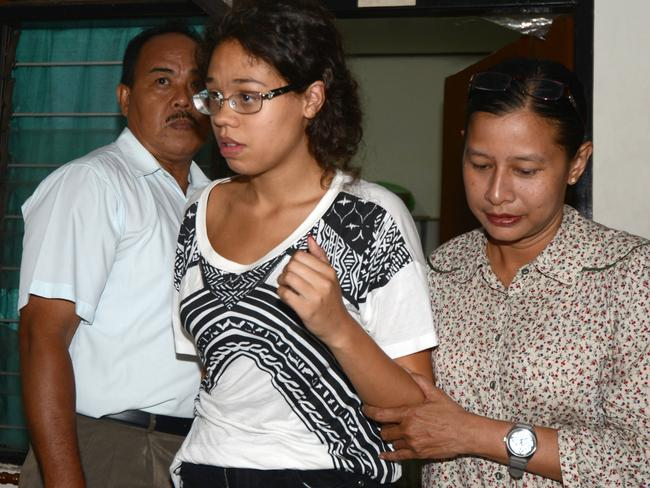 Signs of violence ... Heather Mack, 19, was arrested in Bali a day after the body of her mother Sheila von Wiese-Mack was found inside the trunk of a taxi. Picture: Sonny Tumbelaka