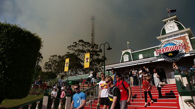 Dreamworld was evacuated after fires threatened the park. Pic: Luke Marsden.