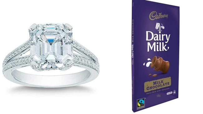 Two big items they're stocking are a 5.43 ctw engagement ring and a 10 kg block of chocolate. Source: Supplied