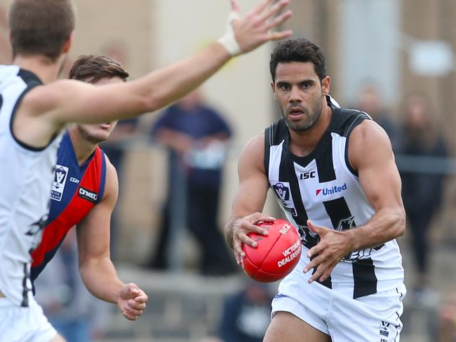 Daniel Wells mades his debut for Collingwood's VFL side. Picture: David Crosling