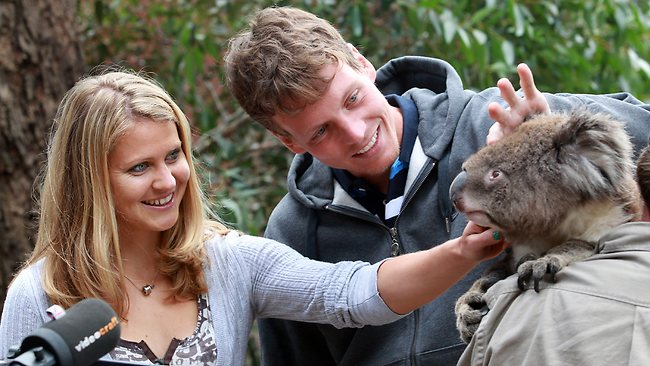 Tomas Berdych and girlfriend Lucie Safarova visit the Melbourne Zoo. Picture: Fiona Hamilton