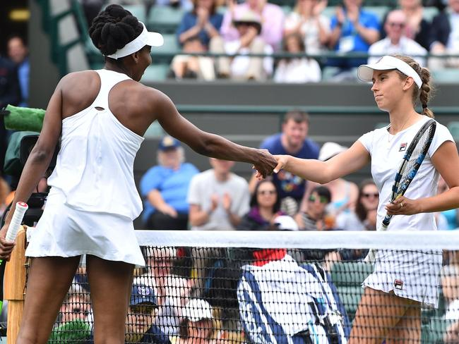 Venus Williams defeated Belgium's Elise Mertens in the first round at Wimbledon. Picture: AFP/Glyn Kirk