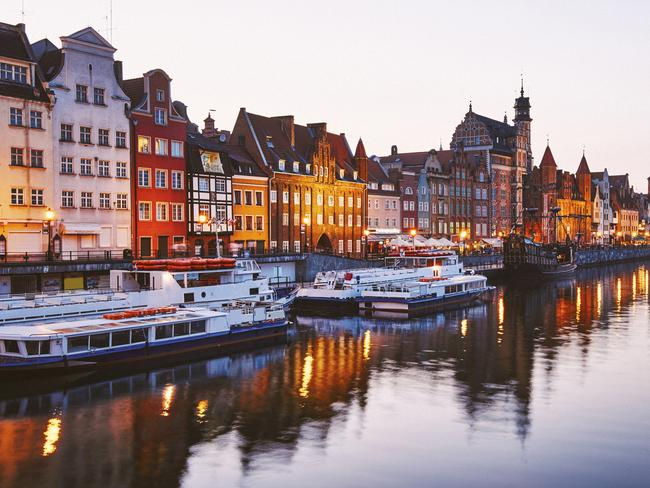 Gdansk town as seen from the River Motlawa.