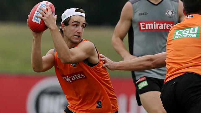 Josh Daicos takes part in a drill. Picture: Wayne Ludbey