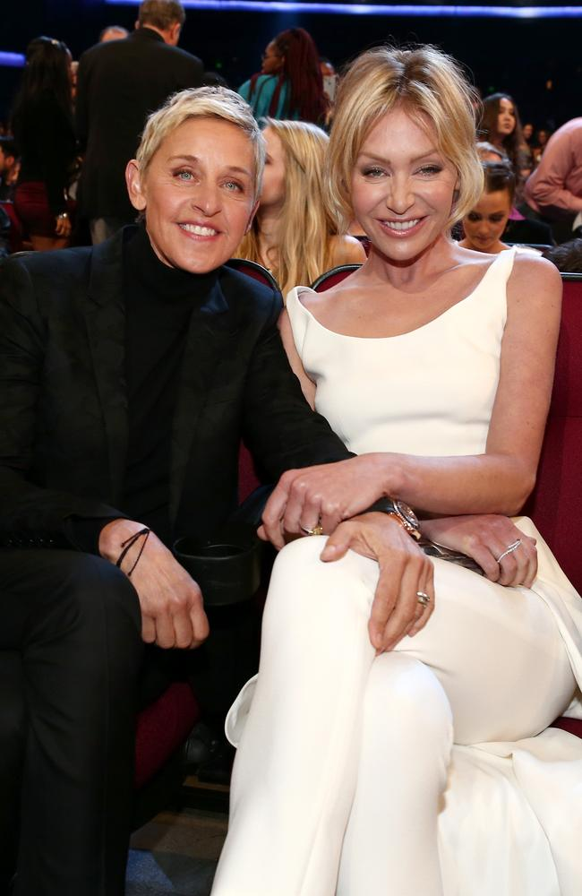 Ellen DeGeneres and actress Portia de Rossi attend the People's Choice Awards 2016 . Picture: Getty