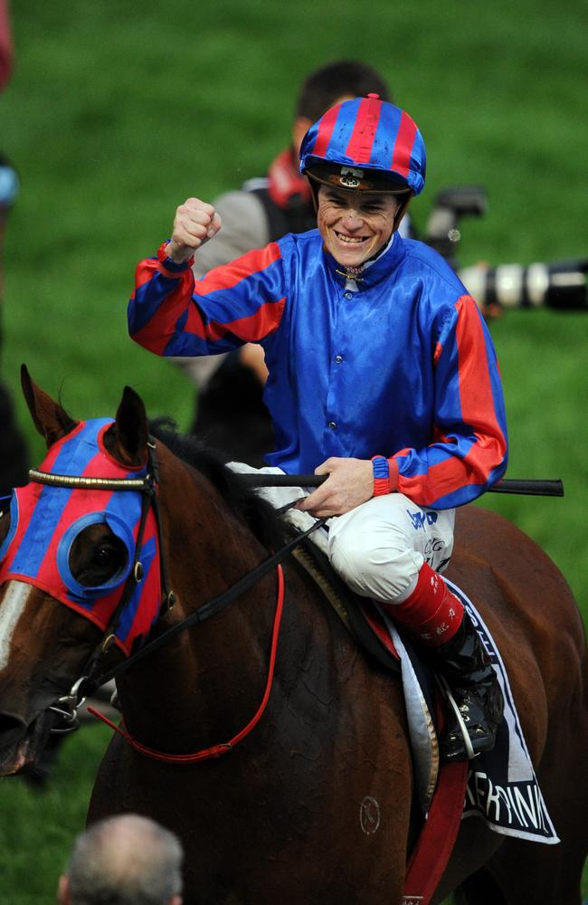 Craig Williams returns to scale after winning the 2011 Cox Plate on Pinker Pinker. Picture: Michael Dodge