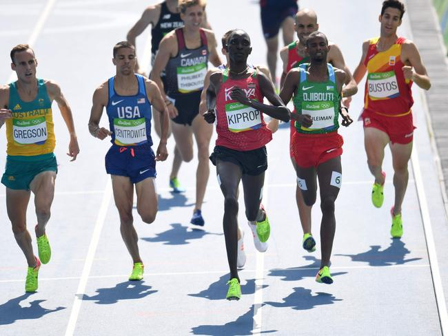 Asbel Kiprop (centre) is one of several Kenyan athletes who may have been cheated out of Nike bonuses.