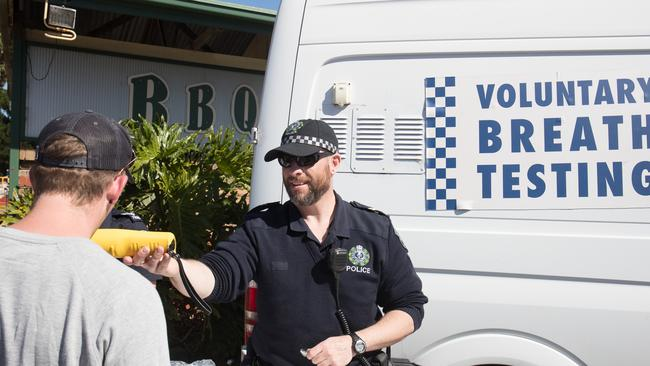 Police offer voluntary breath testing to Schoolies attendees. Picture: Matt Loxton