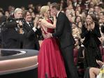 """Nicole Kidman congratulates Alexander Skarsgard after winning the award for outstanding supporting actor in a limited series or a movie for """"Big Little Lies"""" at the 69th Primetime Emmy Awards on Sunday, Sept. 17, 2017, at the Microsoft Theater in Los Angeles. Picture: AP"""