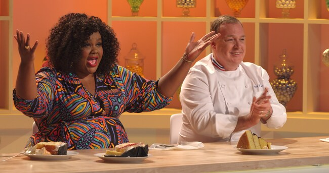 Nailed It is hosted by comedian Nicole Byer (from the series *Loosely Exactly Nicole), and Jacques Torres, a New York chocolatier. Picture: Netflix