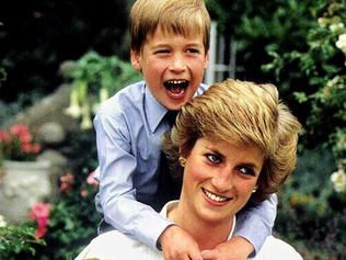 "Cover of booklet ""Diana: The Untold Story"" Part 3 showing Diana Princess of Wales with sons Prince William and Prince Harry. henry son british royalty"