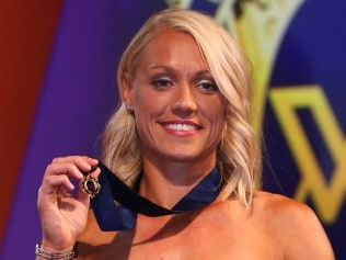 MELBOURNE, AUSTRALIA - MARCH 28: Inaugural AFLW Best and Fairest winner Erin Phillips of the Crows poses for a photograph during the The W Awards at the Peninsula on March 28, 2017 in Melbourne, Australia. (Photo by Michael Dodge/AFL Media/Getty Images)