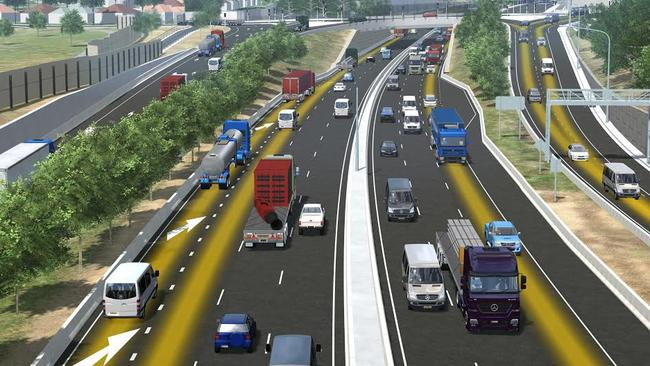 Artist's impression of the proposed new King Georges Rd Interchange on the WestConnex motorway at Beverly Hills.