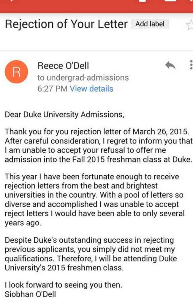 Student siobhan odell rejects rejection letter from duke university odell wrote this letter to duke university after they altavistaventures Images