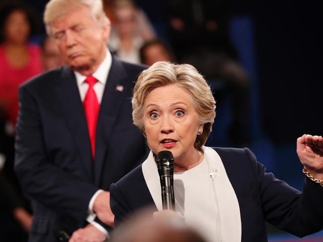 Hillary Clinton says she felt 'uncomfortable' when Donald Trump stood behind her during the second presidential debate at Washington University in St Louis, Missouri, in October 2016. Picture: AFP/Rick Wilking