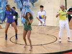 (L-R) Singers Claudia Leitte, Jennifer Lopez and Pitbull perform during the Opening Ceremony of the 2014 FIFA World Cup Brazil prior to the Group A match between Brazil and Croatia at Arena de Sao Paulo on June 12, 2014 in Sao Paulo, Brazil. (Photo by Kevin Cox/Getty Images)