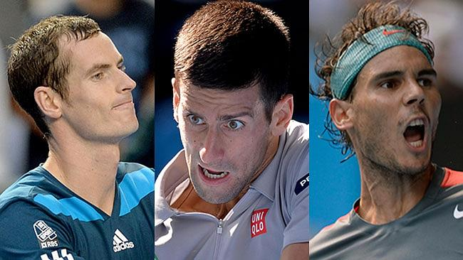 These rather talented men stand in his way. Murray (left), Djokovic (middle) and Nadal (right).