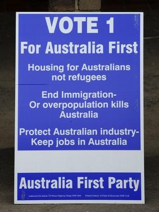 An Australia First sign at an anti-immigration forum.