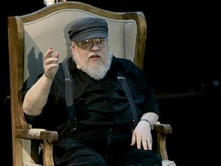 US writer George R.R Martin, author of the book series Game of Thrones, speaks during a conference at the Guadalajara International Book Fair in Guadalajara, Mexico on December 2, 2016. / AFP PHOTO / STR