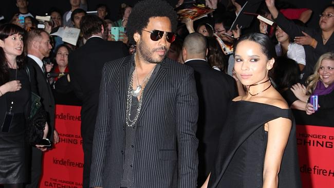 Lenny Kravitz and Zoe Kravitz arrive at the 'Hunger Games: Catching Fire' premiere.