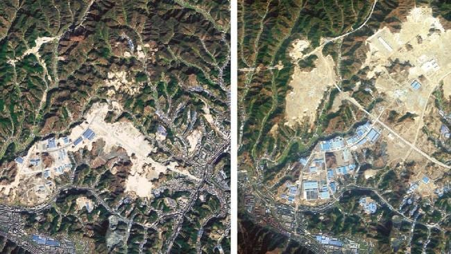 Before and after shot of Shiyan, western China (2010 left, 2012 right) showing the additional land. Picture: Nature