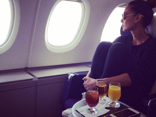"Lindy Klim enjoying a few drinks after a European holiday! ""Homeward bound.... Bye #Europe #timeforcuddles."" Picture: Instagram"