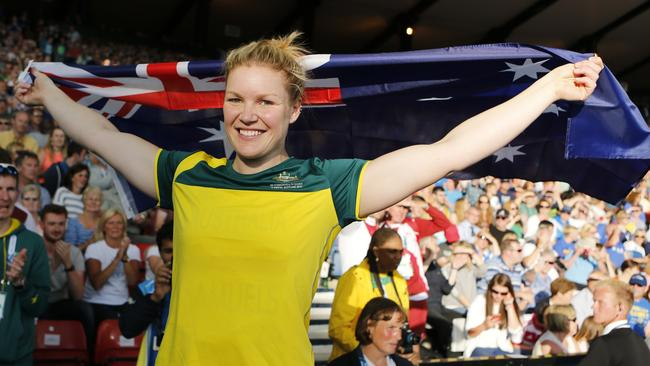 Dani Samuels of Australia celebrates after winning the women's discus.