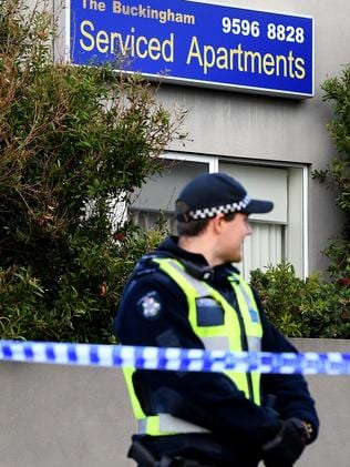 The Buckingham Serviced Apartments in Brighton remains a crime scene. Picture: Julian Smith/AAP