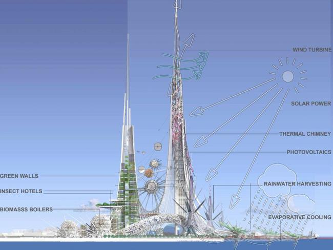 Solar power and wind turbines will be a feature of the towers. Picture: @Chetwoods