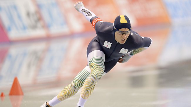 Breakout...Aussie speed skater Daniel Greig has nabbed the silver medal at the ISU World Sprint Speed Skating Championships 2014 in Nagano, Japan. Picture: Getty