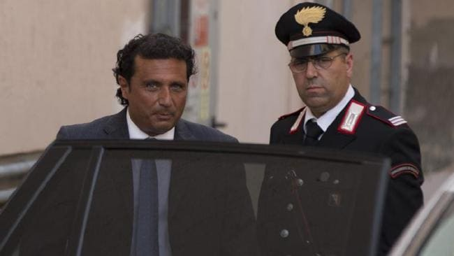 Captain Francesco Schettino leaves court. Picture: AP Photo/Andrew Medichini