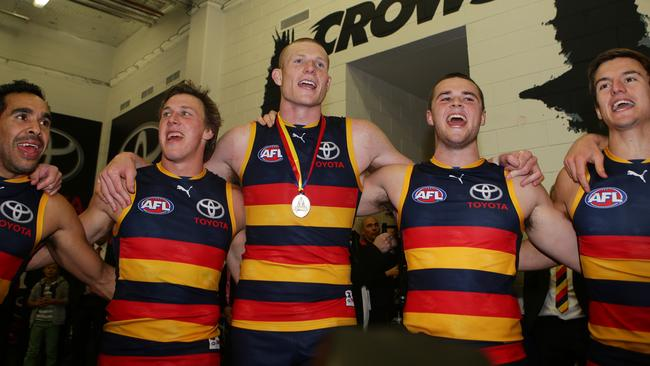 Adelaide sing the club song after a win in The Showdown. Picture: Sarah Reed.
