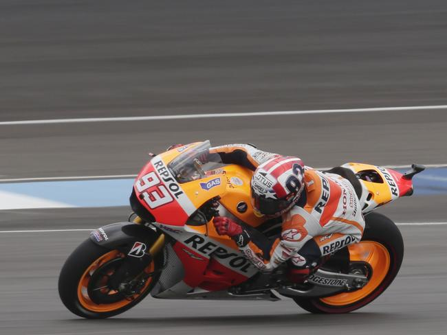 Marc Marquez during the early stages of the Indianapolis MotoGP race at Indianapolis Motor Speedway.