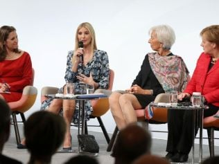 Ivanka Trump, Canadian Minister of Foreign Affairs Chrystia Freeland, International Monetary Fund (IMF) Managing Director Christine Lagarde and German Chancellor Angela Merkel speak on stage of the W20 conference on April 25, 2017 in Berlin, Germany. Photo by Sean Gallup/Getty Images.