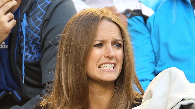 Sears couldn't conceal her frustration as Murray and Federer battled it out last night.