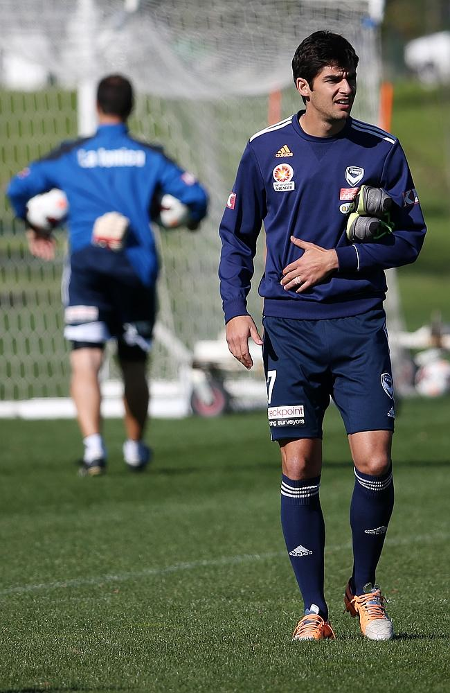 Melbourne Victory's Guilherme Finkler didn't take part with the main group. Picture: GEORGE SALPIGTIDIS