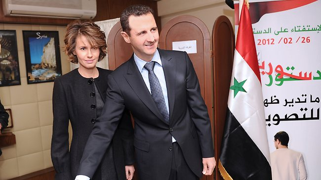 "Asma Assad is ""standing by her man"", Syrian dictator Bashar al-Assad. Picture: AP"
