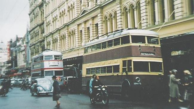 Source; Adelaide Trolley Buses. Bob Pearce. Photographer unknown. Double Decker Trolley Buses in Rundle Street in the 1950s